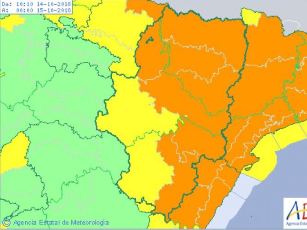 Alerta por lluvias y tormentas en Aragón ante la llegada de Leslie.