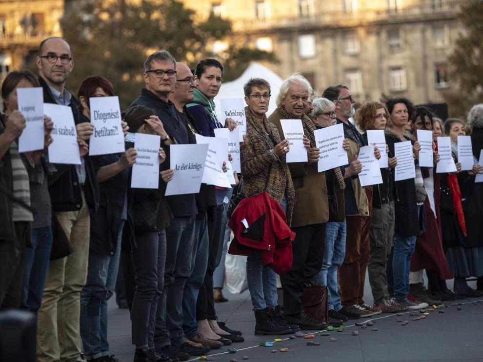 Manifestación en Budapest.