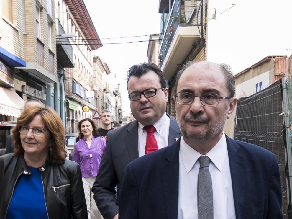 Javier Lambán, a su llegada este lunes a unas jornadas en Zuera