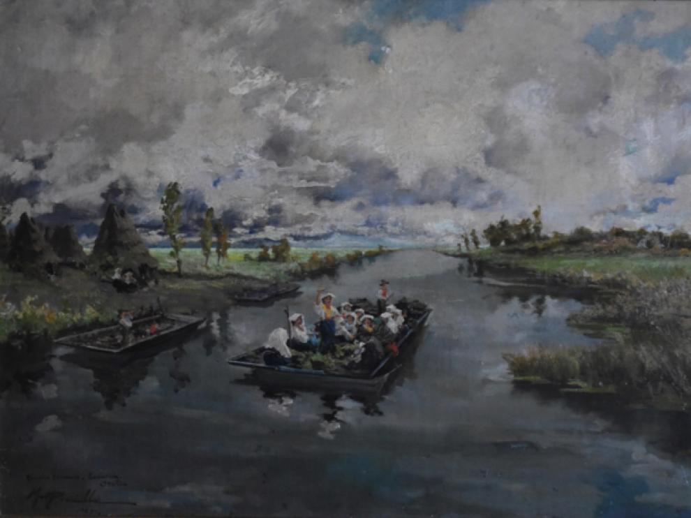 'Paludes pontinas. Terracina', óleo que Miguel Pradilla realizó en 1935.