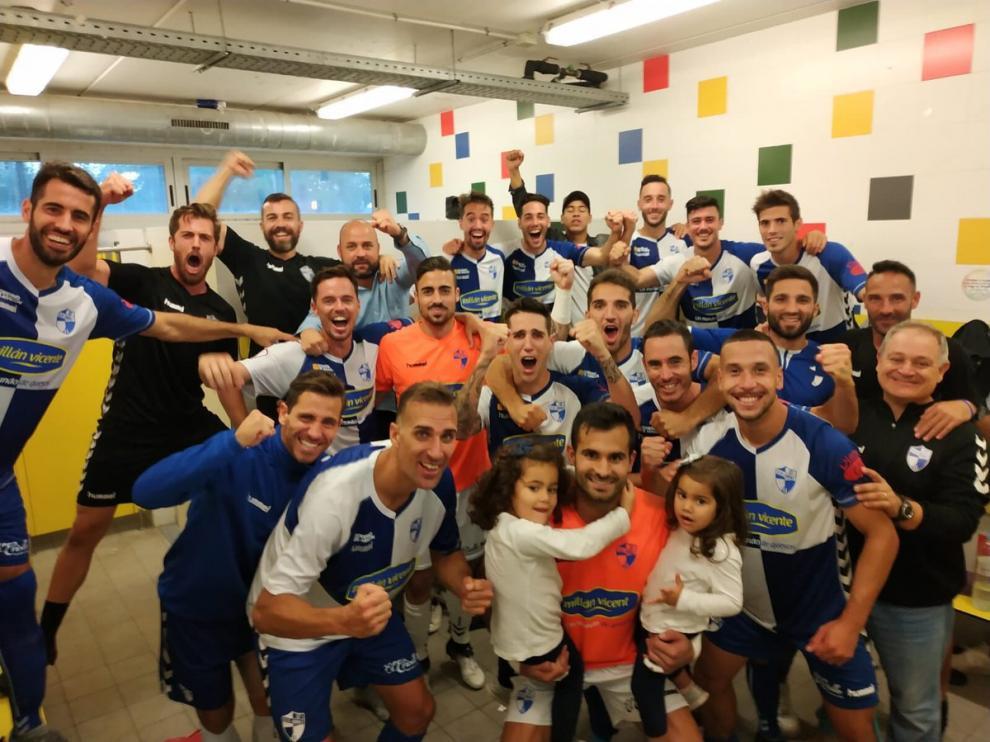 La plantilla celebra en el vestuario el pase a dieciseisavos de final de la Copa del Rey tras ganar al Lleida.