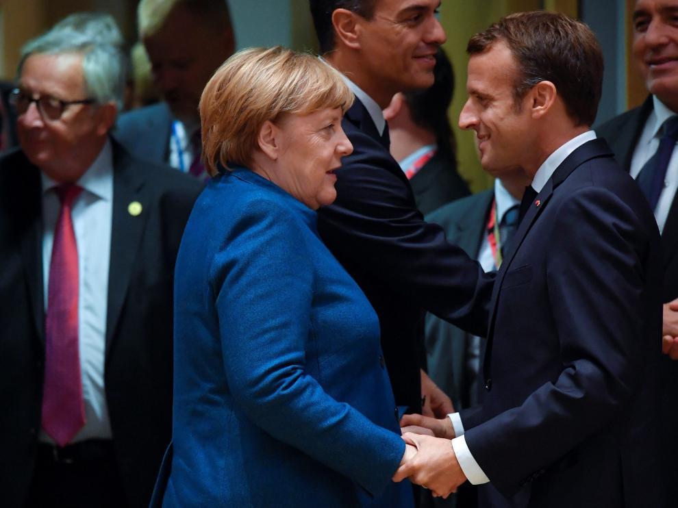 Angela Merkel y Emmanuel Macron en la cumbre de la Unión Europea sobre el brexit, en Bruselas.