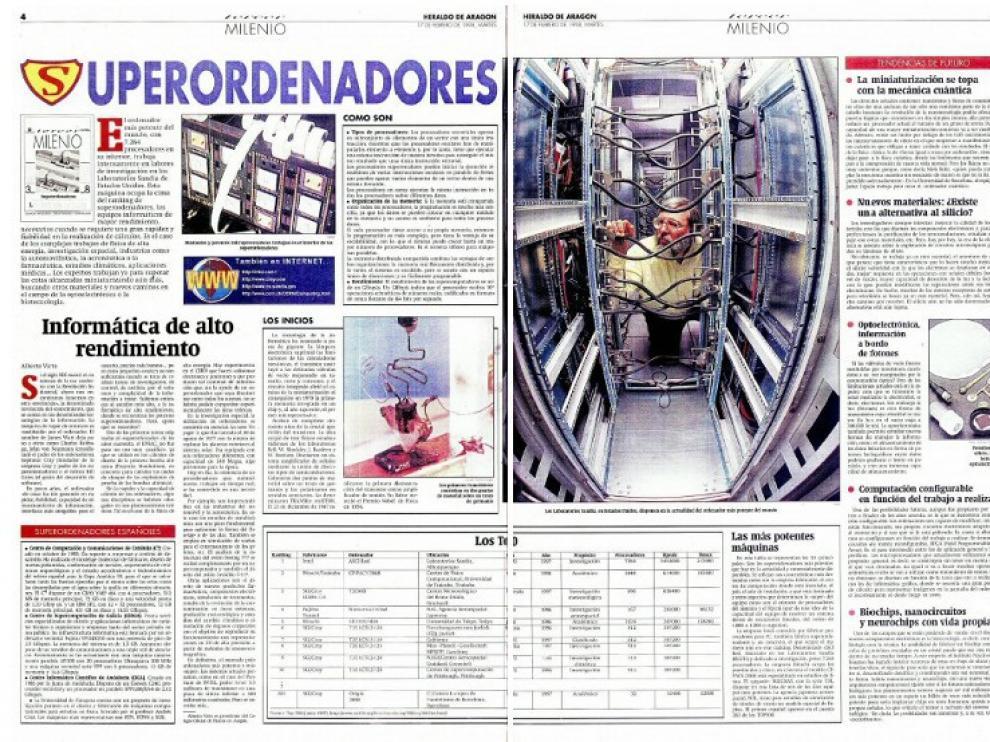 En 1998, Alberto Virto hizo un repaso de los superordenadores de aquella época, cuyo ranquin encabezaban los 7.264 procesadores del más potente