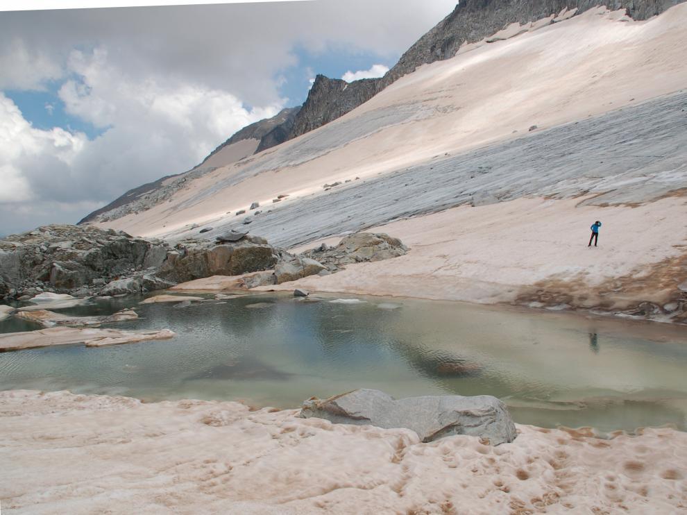 Esta fotografía del glaciar del Aneto donde se puede ver el lago se tomó el 29 julio del año pasado.