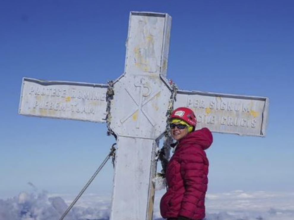 Nina Glazunov, el pasado día 17, ya con la cruz repintada