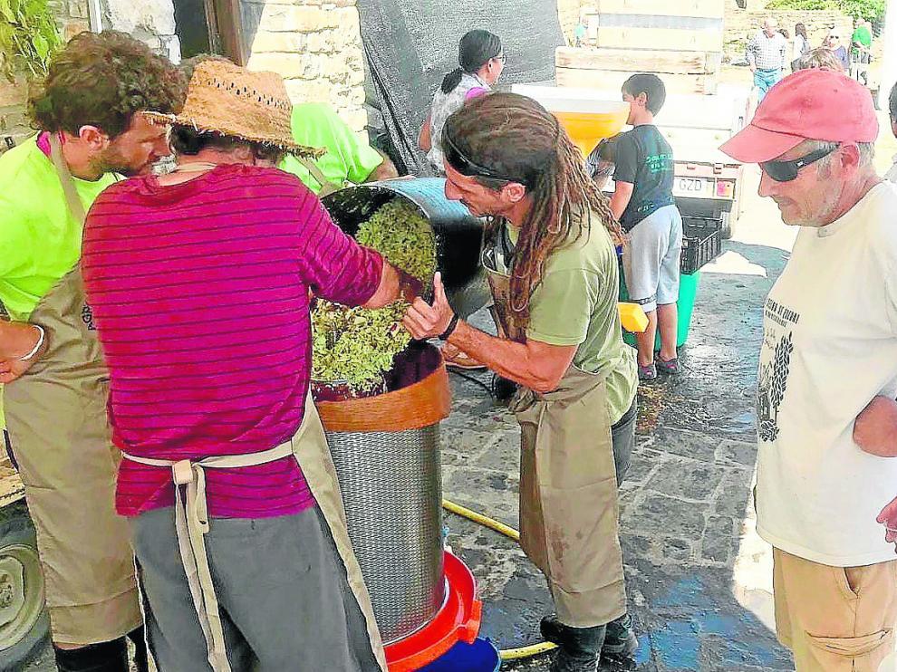 Un momento de la elaboración de zumo de manzana producida en los cultivos de montaña.