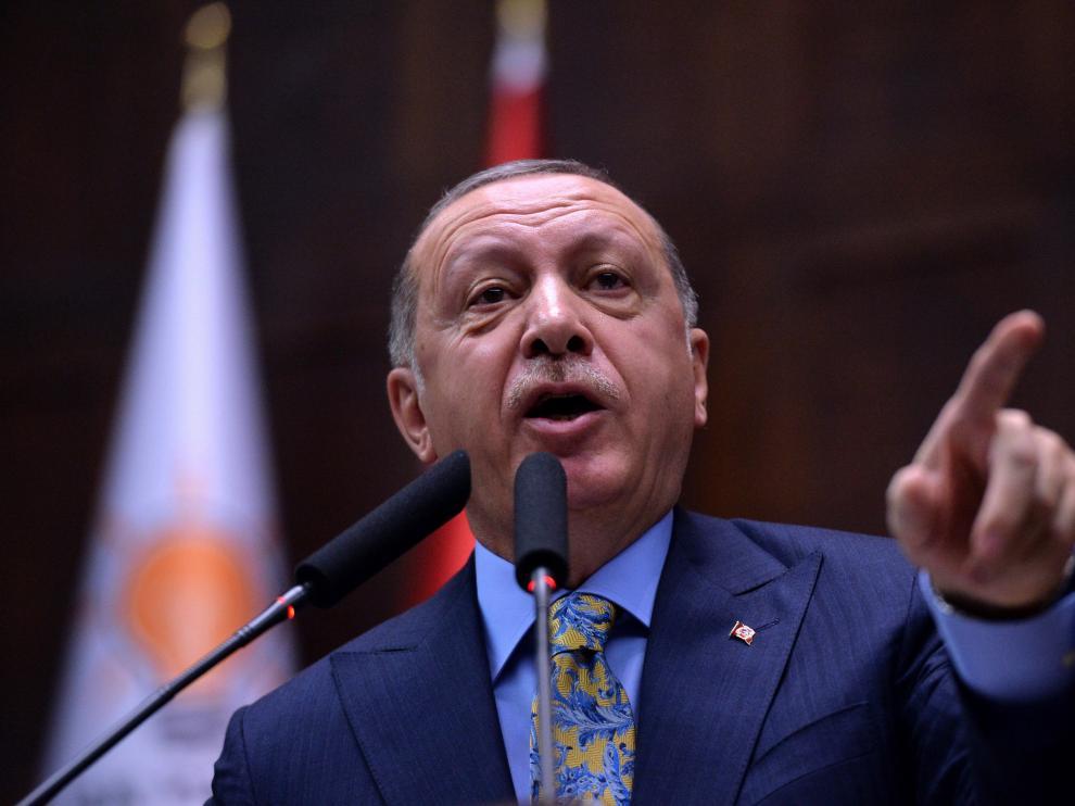 Erdogan, este martes en el Parlamento turco.