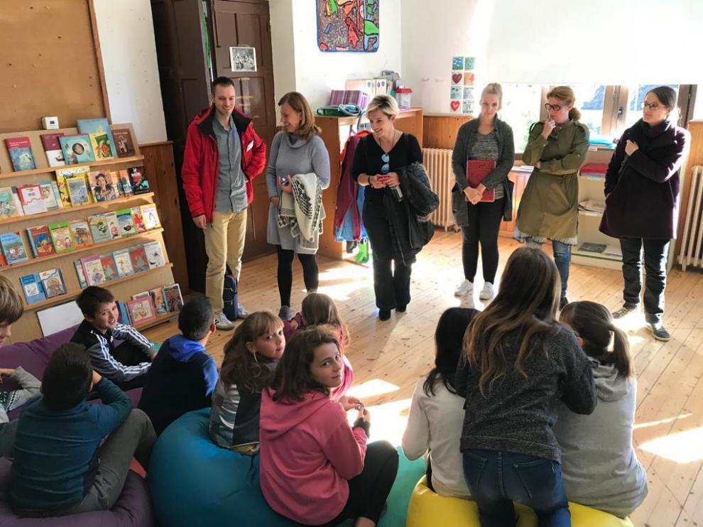 Visita de profesores de Islandia, Berlín y Creta, la semana pasada en la escuela de Berdún.