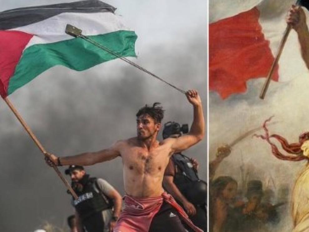 Un joven palestino, el pasado lunes. A la derecha, la 'Libertad guiando al pueblo', de Delacroix.