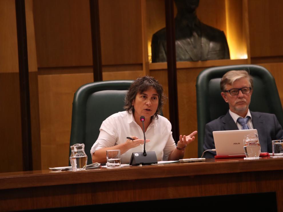 La vicealcaldesa, Luisa Broto, y el alcalde, Pedro Santisteve, en el pleno de este viernes.
