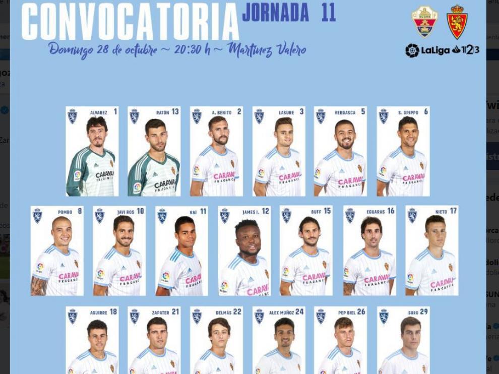 Lista de 19 jugadores del Real Zaragoza para el partido de Elche.