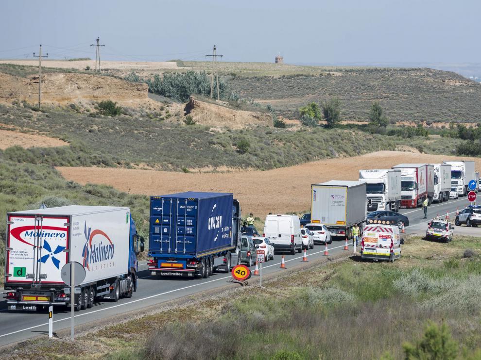 Imagen del tramo Figueruelas-Mallén de la N-232, cuyo proyecto de desdoblamiento se encuentra bloqueado.