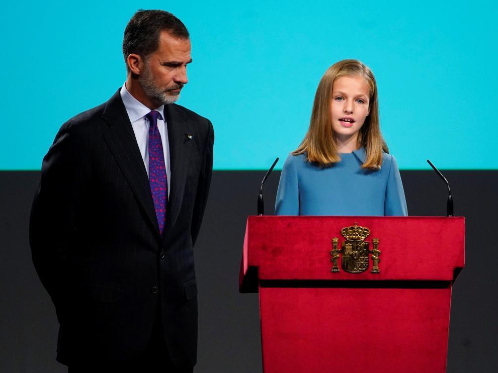 Primeras palabras en un acto oficial de la princesa Leonor en su trece cumpleaños.