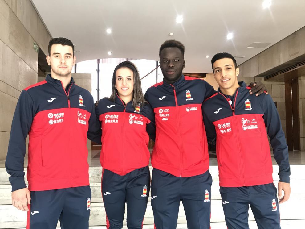 Marcos Martínez, Raquel Roy, Babacar Seck y Samy Ennkhaili, concentrados en Madrid con la selección española para preparar el Mundial