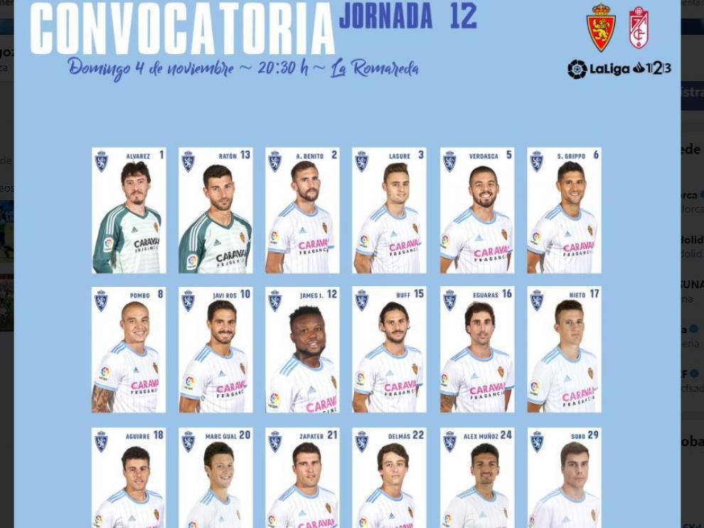 Lista de 18 convocados por Alcaraz para jugar ante el Granada.