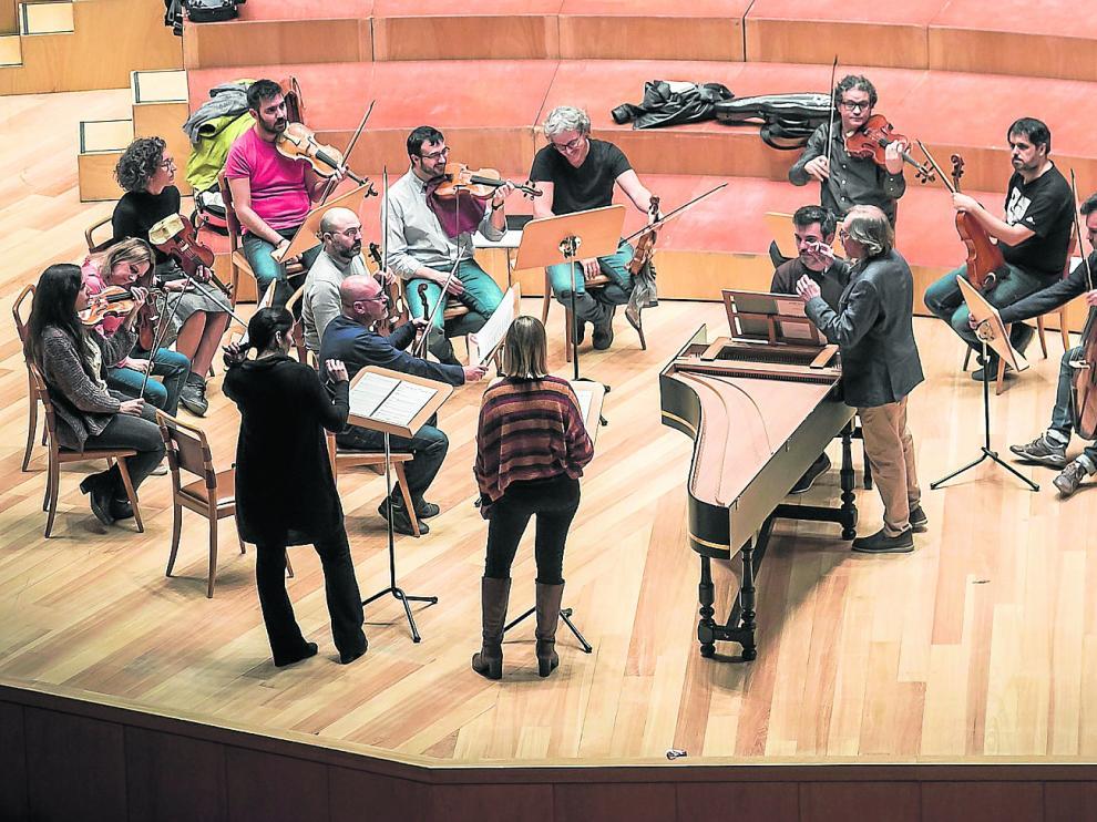 Ensayo de Los Músicos de Su Alteza en la sala Mozart del Auditorio