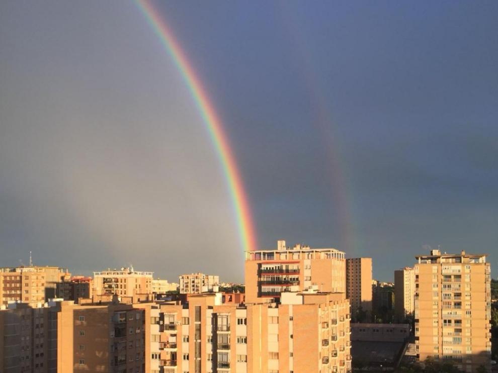 Doble arcoíris en Zaragoza.