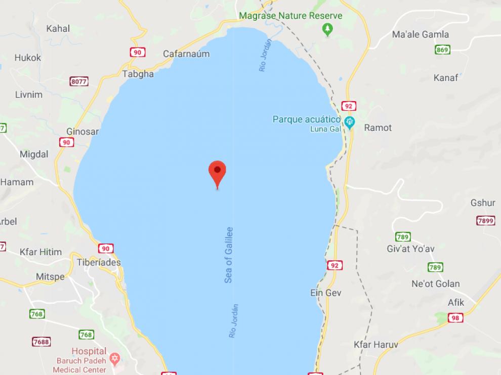 El avión se estrelló en el mar de Galilea.