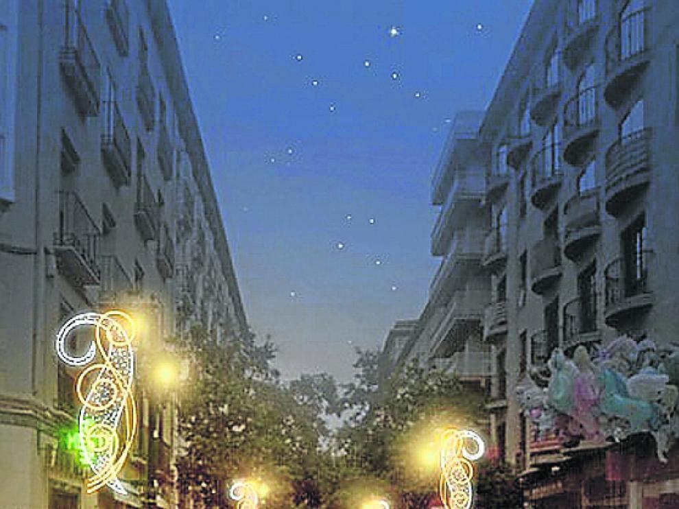 Recreación de Don Jaime I. Este es el aspecto que lucirá la calle con las nuevas luces de Navidad que se van a instalar, y que costarán 30.000 euros.