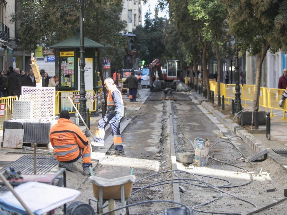 La calle Don Jaime I, en obras.