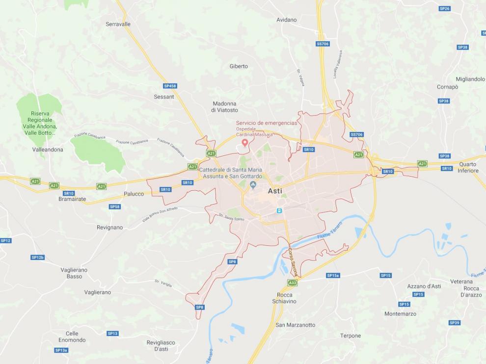 La localidad italiana de Asti, donde un anciano ha matado este viernes a un agente judicial en el deshaucio de su domicilio en Italia.