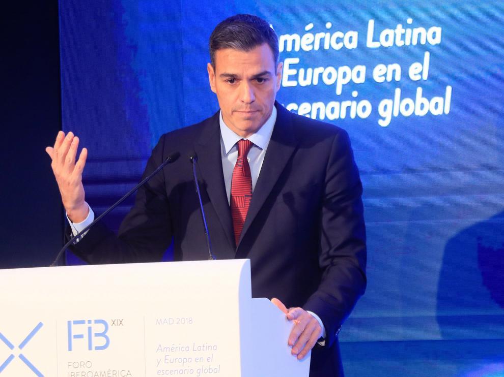 Pedro Sánchez durante la inauguración de la XIX Edición del Foro Iberoamericano