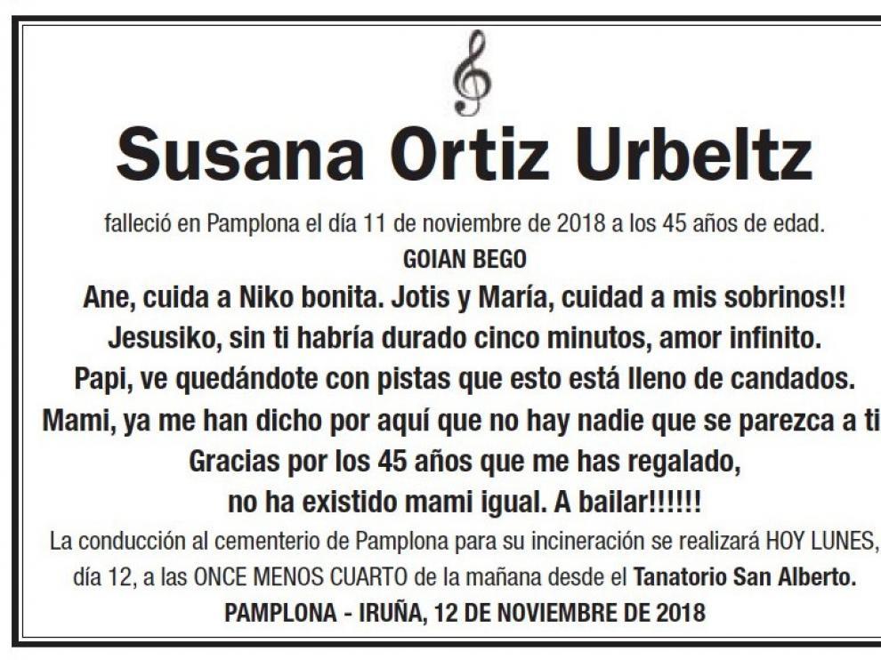 La esquela publicada este lunes en el 'Diario de Navarra'