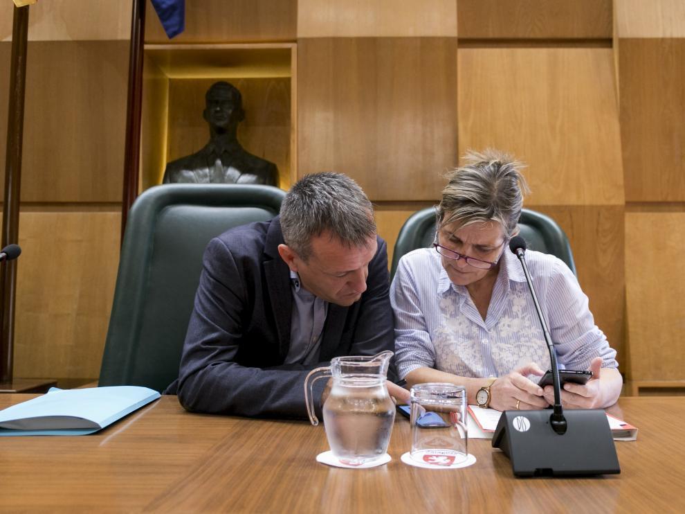 Fernando Rivarés y la directora general de Economía, Ana Sanromán, en la comisión de este martes.
