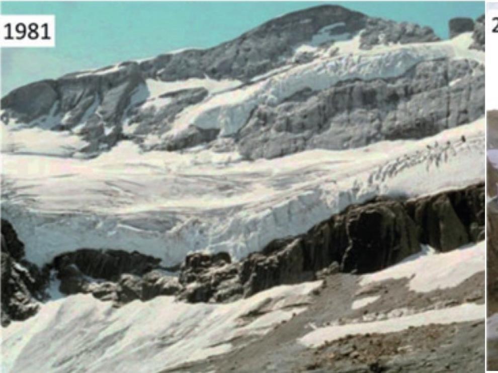 Imagen del glaciar de Monte Perdido en verano de 1981 y en 2011.