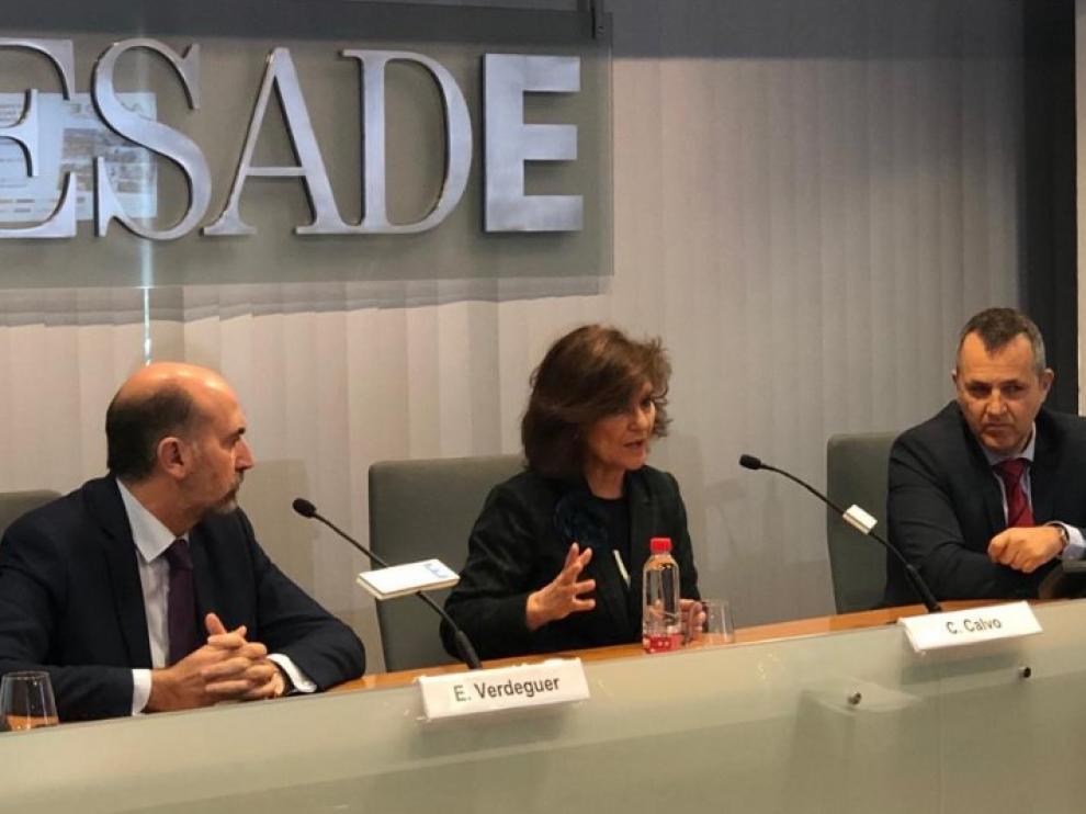 La vicepresidenta Calvo, en su intervención en la inauguración del XIII Congreso Nacional para Racionalizar los Horarios Españoles.