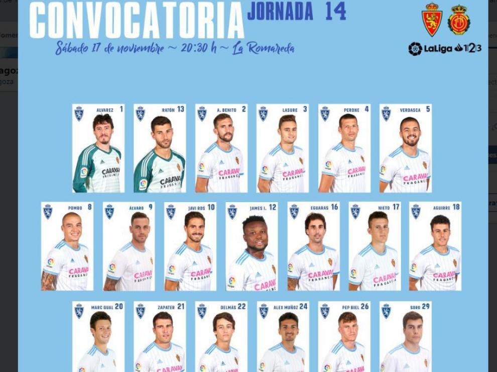Lista oficial del Real Zaragoza ante el partido frente al Mallorca.