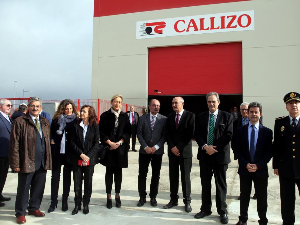 La inauguración de la ampliación de Transportes Callizo ha congregado a los máximos responsables de los Gobiernos central, autonómico y municipal