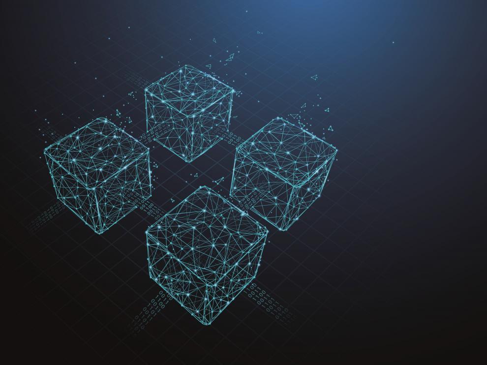 ilustración del concepto blockchain, una base de datos distribuida en la que la información es incluida por consenso, está criptografiada y es inmutable