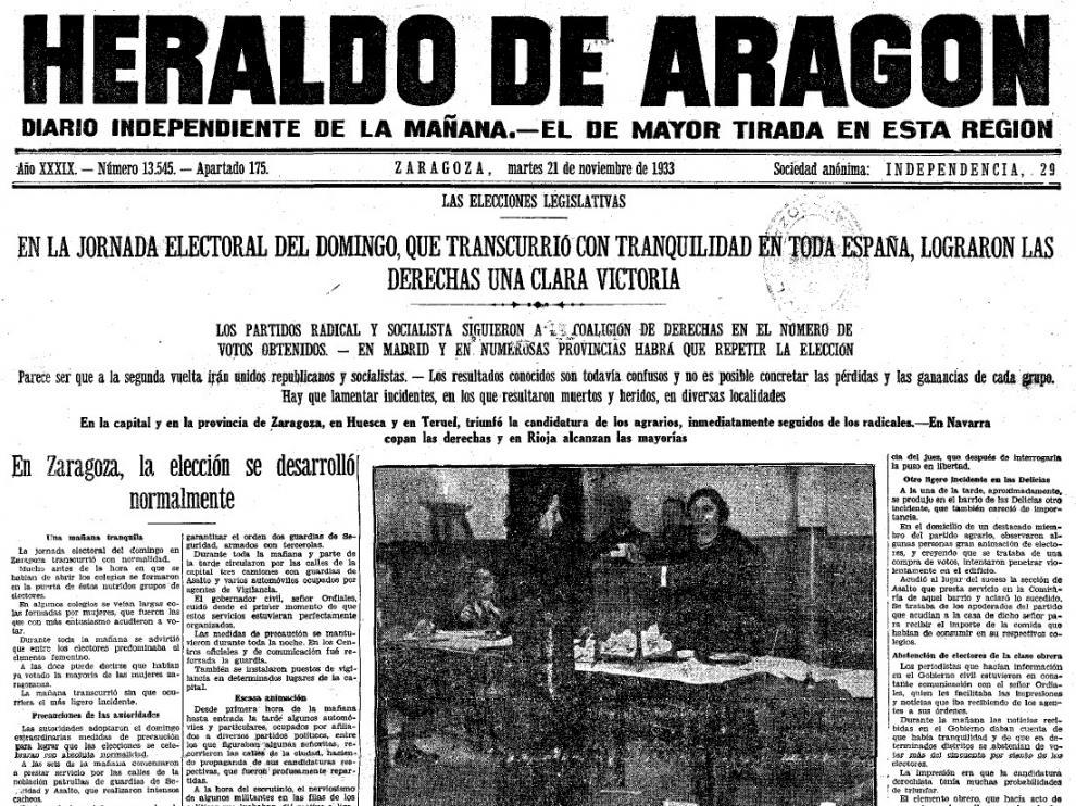 Portada de Heraldo el 20 de noviembre de 1933