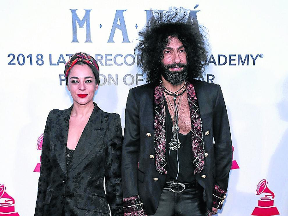 La actrizNatalia Moreno,con su marido,Ara Malikian, en la gala en homenaje a Maná celebrada en Las Vegas el pasado 14 de noviembre.