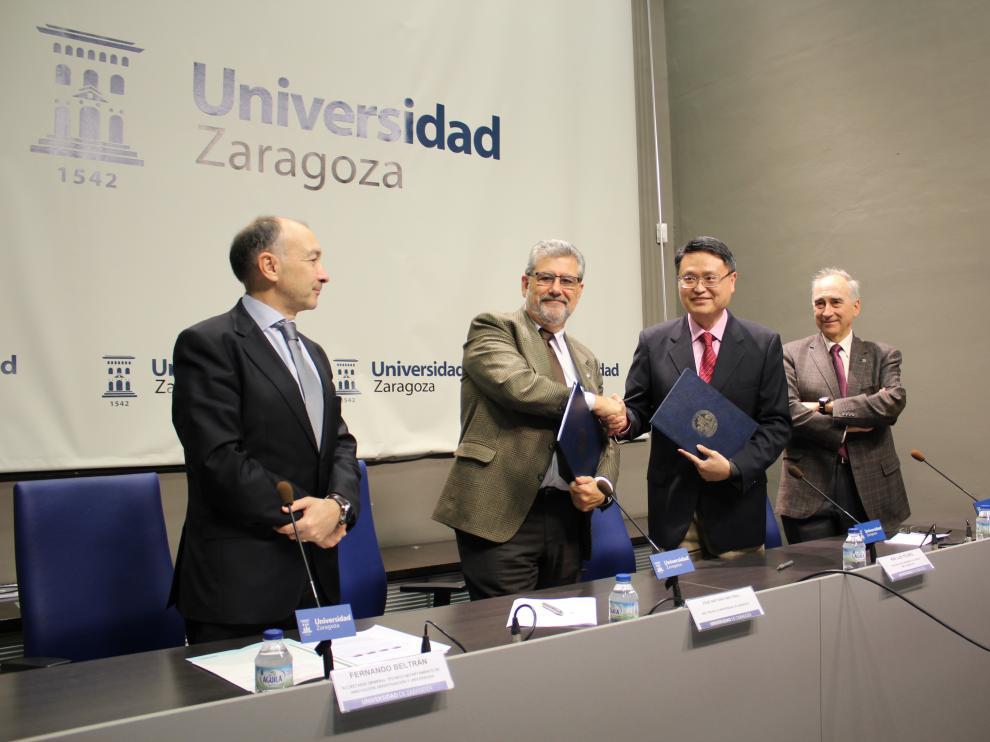 Fernando Beltrán, José Antonio Mayoral, King Lun Yeung y Ricardo Ibarra, este lunes, tras la firma del convenio.