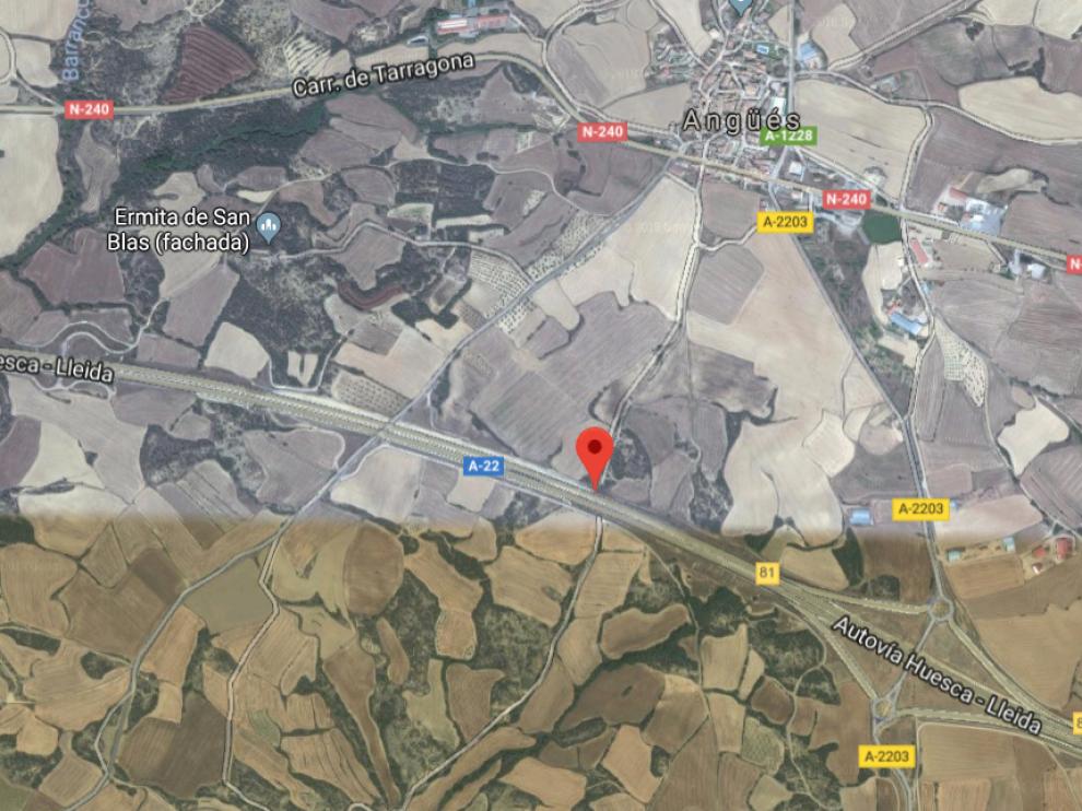A-22 a la altura de Angüés, Huesca