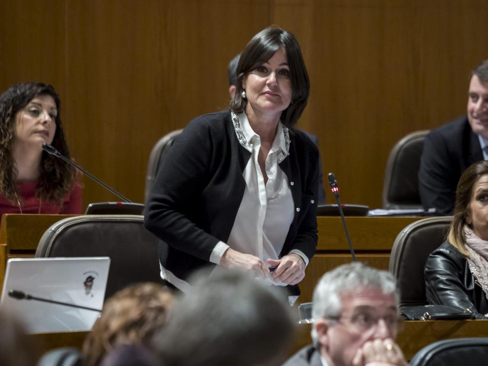 La coordinadora de la ponencia de la ley, Elena Allué, en un pleno de las Cortes de Aragón.