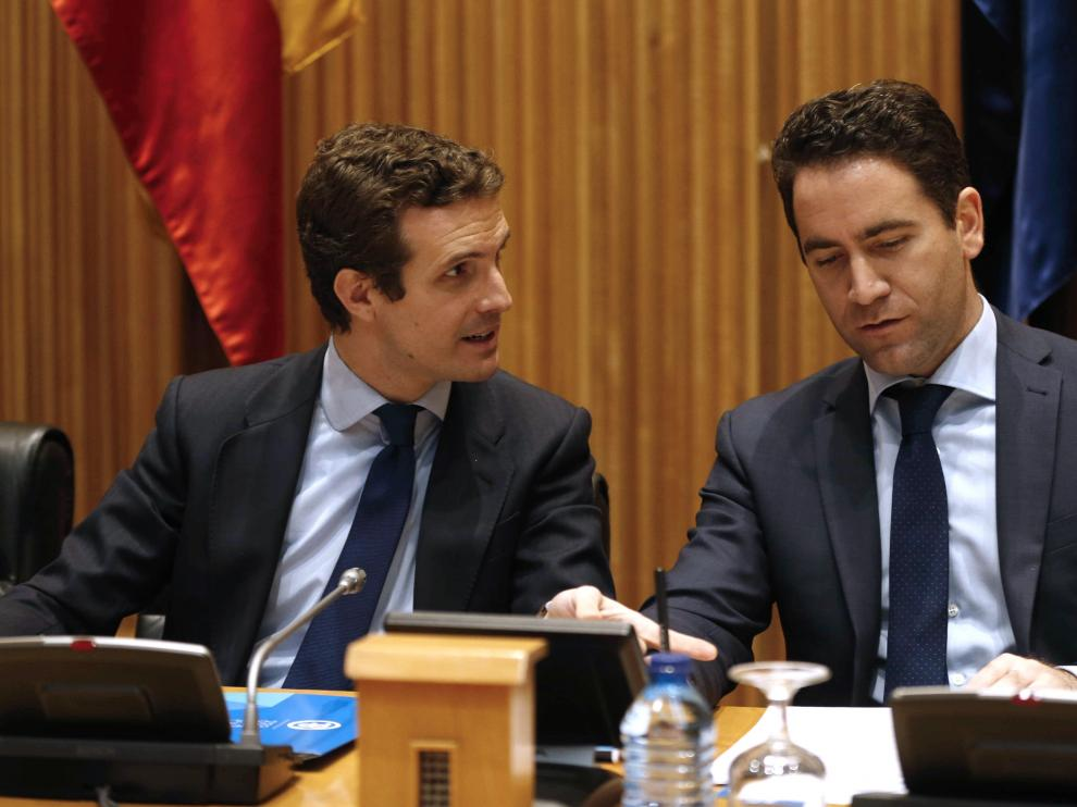El presidente del PP, Pablo Casado, y el secretario general Teodoro García Egea.