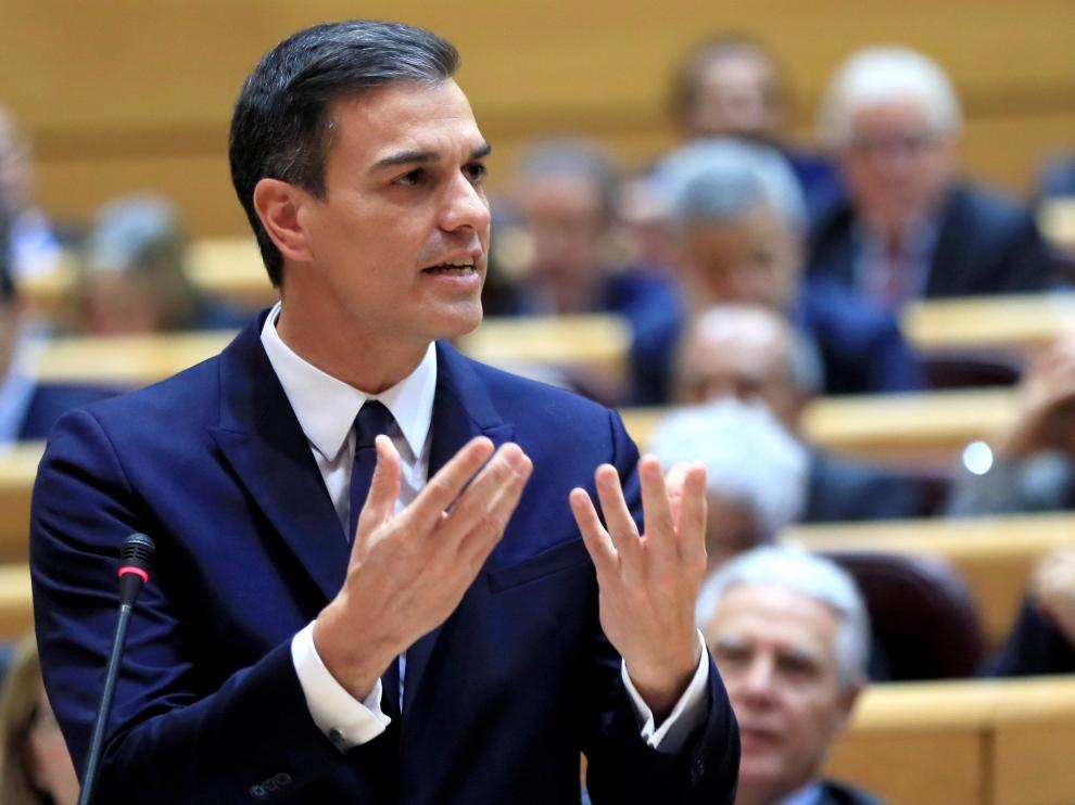 El presidente del Gobierno, Pedro Sánchez, interviene en la sesión de control al Ejecutivo.
