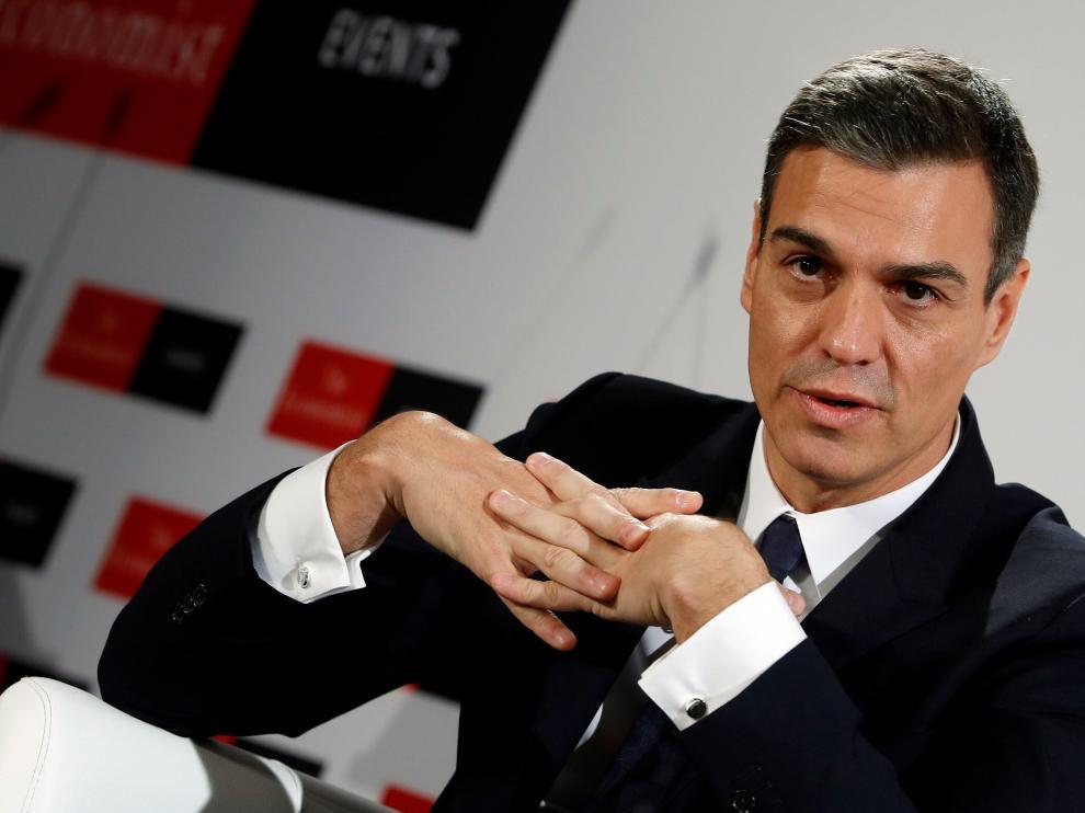 Pedro Sánchez durante su intervención en el foro económico The Economist.