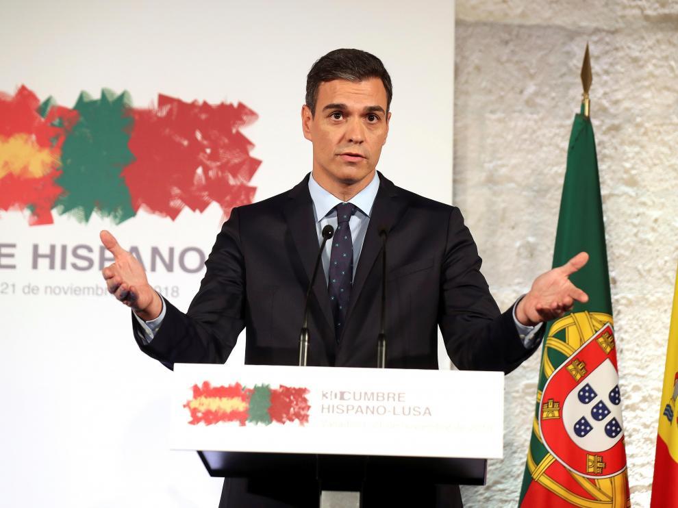 El presidente del Gobierno español, Pedro Sánchez, este miércoles en Valladolid.
