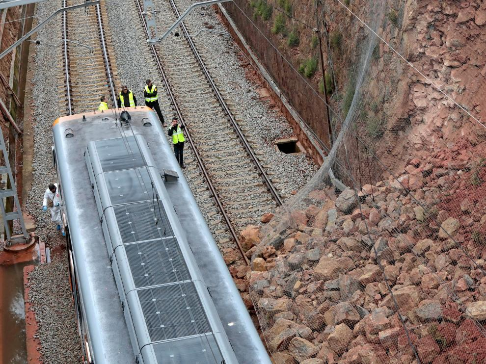 El tren descarrilado en el accidente de Castellgalí