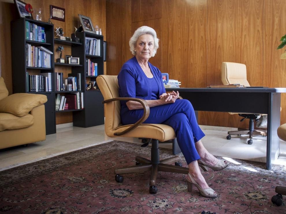La empresaria Pilar Muro, en el que despacho que ocupaba como presidenta del grupo hospitalario Quirón.