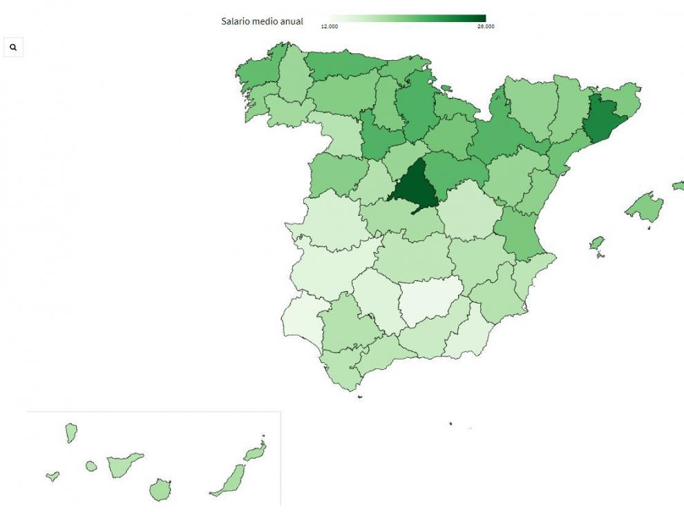 El mapa del salario medio en 2017 en España, por provincias