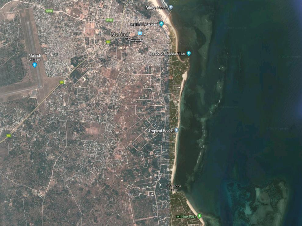 El suceso tuvo lugar junto a la ciudad costera de Malindi.