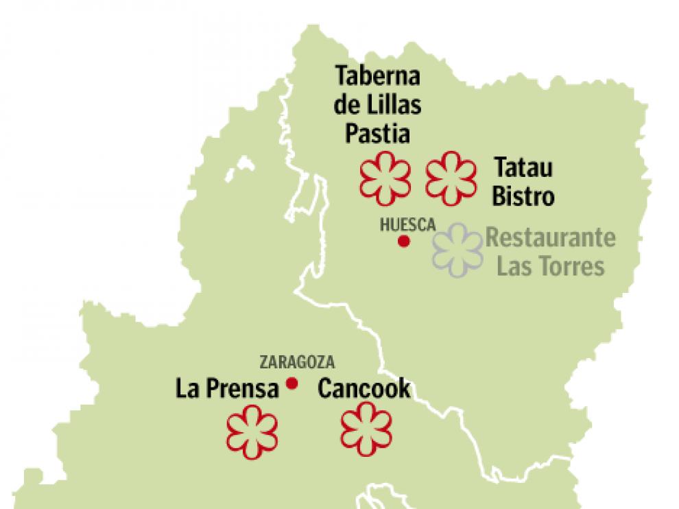Mapa de las estrellas Michelin de Aragón