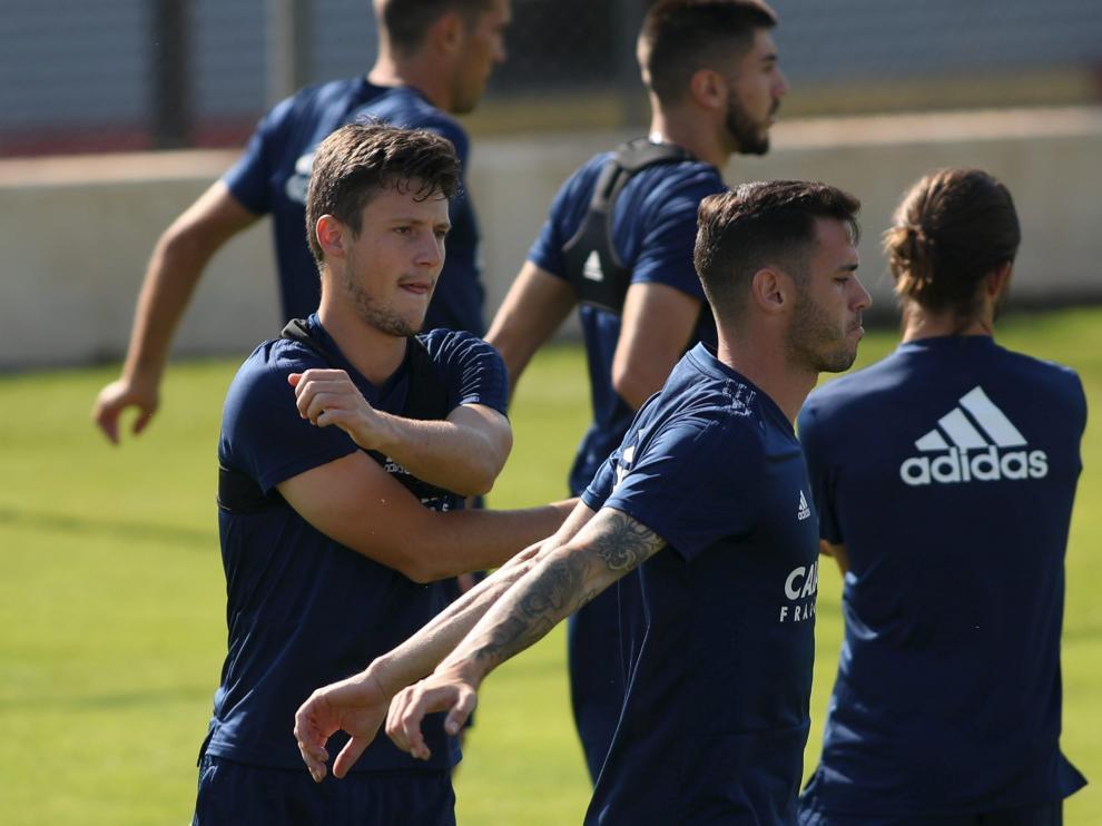 Álvaro Vázquez y Marc Gual, durante un entrenamiento.