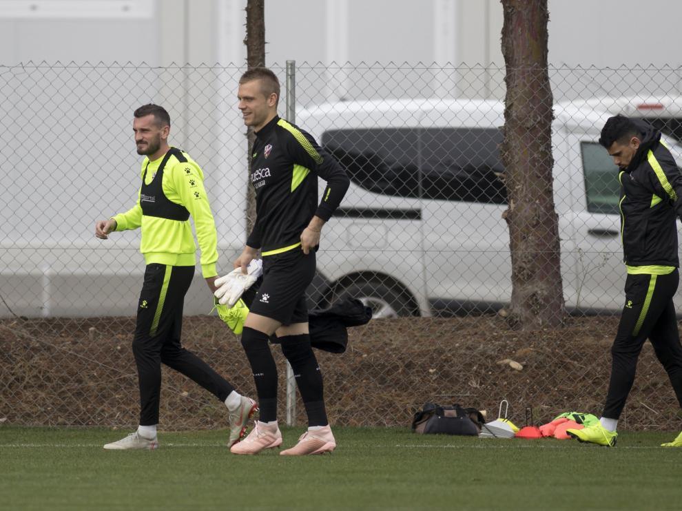 Brezancic, Jovanovic y Gürler, en el entrenamiento de hoy.