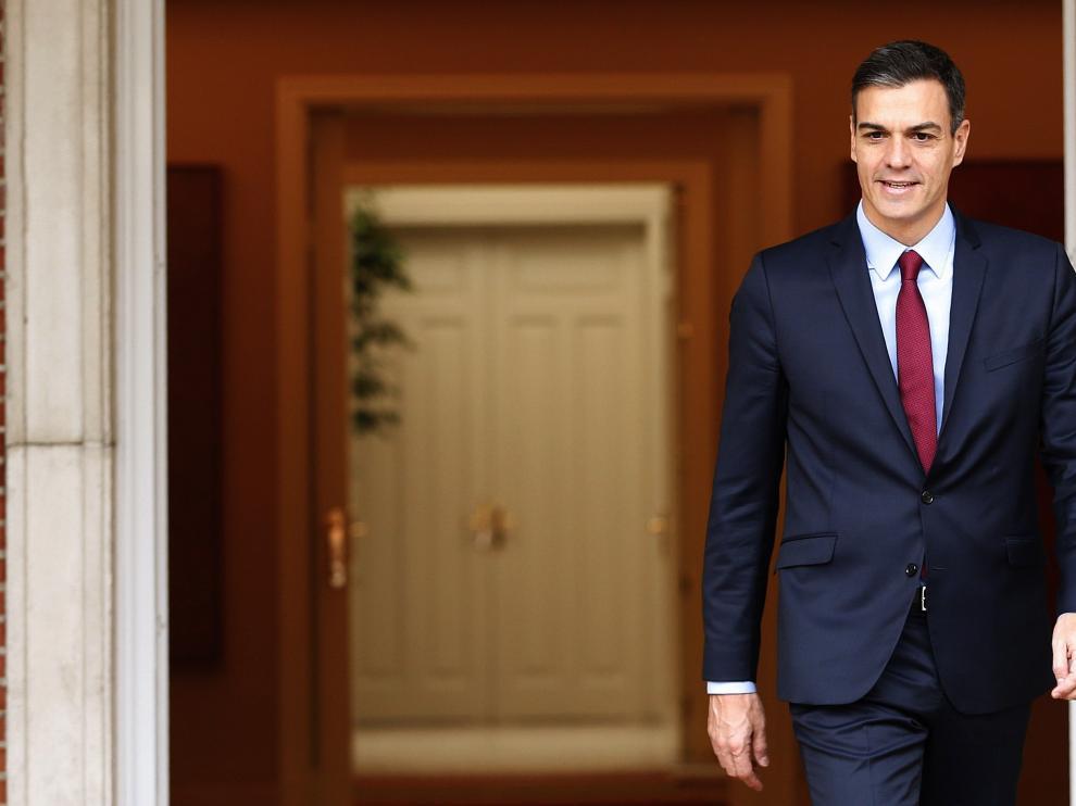 Pedro Sánchez en el Palacio de la Moncloa.